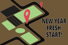 Text sign showing New Year Fresh Start. Conceptual photo Motivation inspiration 365 days full of opportunities Road Map. Navigation Marker 3D Locator Pin for vector illustration