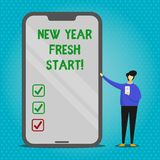 Text sign showing New Year Fresh Start. Conceptual photo Time to follow resolutions reach out dream job Man Presenting. Text sign showing New Year Fresh Start vector illustration