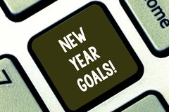 Text sign showing New Year Goals. Conceptual photo Resolutions for 365 days coming soon Motivation to change Keyboard. Key Intention to create computer message stock images