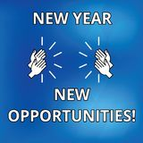 Text sign showing New Year New Opportunities. Conceptual photo Fresh start Motivation inspiration 365 days Drawing of Hu. Analysis Hands Clapping Applauding stock illustration