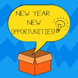 Text sign showing New Year New Opportunities. Conceptual photo Fresh start Motivation inspiration 365 days Idea icon Inside Blank. Halftone Speech Bubble Over vector illustration
