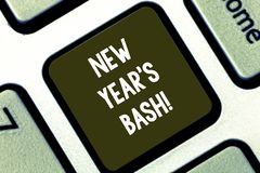 Text sign showing New Year S Bash. Conceptual photo Celebration of the 365 days coming Happy party time Keyboard key. Intention to create computer message royalty free stock image