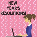 Text sign showing New Year S Resolutions. Conceptual photo Goals Objectives Targets Decisions for next 365 days. Text sign showing New Year S Resolutions stock illustration