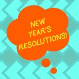 Text sign showing New Year S Resolutions. Conceptual photo Goals Objectives Targets Decisions for next 365 days Blank Color Floral. Shape Thought Speech Bubble royalty free illustration