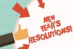 Text sign showing New Year S Resolutions. Conceptual photo Goals Objectives Targets Decisions for next 365 days. Text sign showing New Year S Resolutions vector illustration