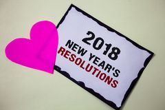 Text sign showing 2018 New Year'S Resolutions. Conceptual photo List of goals or targets to be achieved Hart love pink white back. Ground love lovely thoughts royalty free stock image