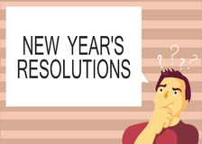Text sign showing New Year s is Resolutions. Conceptual photo Wishlist List of things to accomplish or improve.  stock illustration