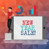 Text sign showing New Year Sale. Conceptual photo Final holiday season discounts price reductions Offers. Text sign showing New Year Sale. Conceptual photo stock illustration