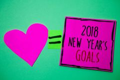 Text sign showing 2018 New Years Goals. Conceptual photo resolution List of things you want to achieve Hart memories love pink gre. En background love lovely royalty free stock photography