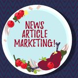 Text sign showing News Article Marketing. Conceptual photo Write and issue short articles to a range of outlets Hand vector illustration