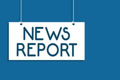 Text sign showing News Report. Conceptual photo spoken or written account of something that one has observed Hanging board communi vector illustration