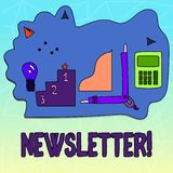 Text sign showing Newsletter. Conceptual photo Bulletin periodically sent to members of group. vector illustration