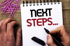 Text sign showing Next Steps.... Conceptual photo Following Moves Strategy Plan Give Directions Guideline written by Man Holding M. Arker Notebook Book the jute Royalty Free Stock Images