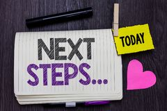 Text sign showing Next Steps . Conceptual photo numper of process going to be made after current one planning Open notebook clothe royalty free stock image