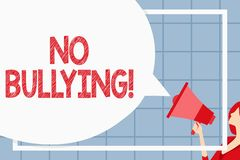Text sign showing No Bullying. Conceptual photo stop aggressive behavior among children power imbalance Huge Blank. Text sign showing No Bullying. Business photo vector illustration