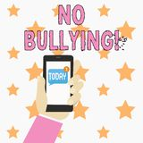 Text sign showing No Bullying. Conceptual photo stop aggressive behavior among children power imbalance Human Hand. Text sign showing No Bullying. Business photo vector illustration
