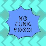Text sign showing No Junk Food. Conceptual photo Stop eating unhealthy things go on a diet give up burgers fries Blank Color royalty free illustration