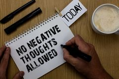 Text sign showing No Negative Thoughts Allowed. Conceptual photo Always positive motivated inspired good vibes Paperclip retain wr. Itten notepad hand hold royalty free stock photo