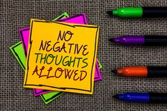 Text sign showing No Negative Thoughts Allowed. Conceptual photo Always positive motivated inspired good vibes Written on some col. Orful sticky note 4 pens laid Stock Photo