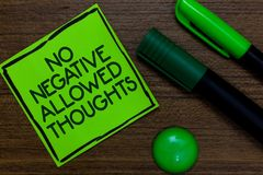 Text sign showing No Negative Thoughts Allowed. Conceptual photo Always positive motivated inspired good vibes Written on sticky n. Ote two markers laid on Royalty Free Stock Photography