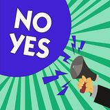 Text sign showing No Yes. Conceptual photo Answering question using these words to show acception or rejection.  stock illustration