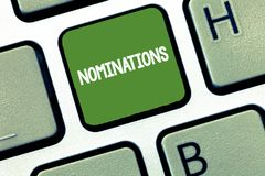 Text sign showing Nominations. Conceptual photo Suggestions of someone or something for a job position or prize.  stock photo