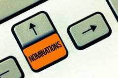 Text sign showing Nominations. Conceptual photo Suggestions of someone or something for a job position or prize.  royalty free stock photography