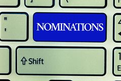 Text sign showing Nominations. Conceptual photo Suggestions of someone or something for a job position or prize.  royalty free stock images
