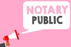 Text sign showing Notary Public. Conceptual photo Legality Documentation Authorization Certification Contract Man holding megaphon. E loudspeaker speech bubble royalty free illustration