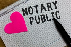 Text sign showing Notary Public. Conceptual photo Legality Documentation Authorization Certification Contract Squared notebook pap. Er ripped sheets Marker royalty free stock photography