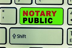 Text sign showing Notary Public. Conceptual photo Legality Documentation Authorization Certification Contract.  stock image