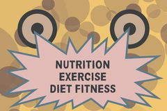 Text sign showing Nutrition Exercise Diet Fitness. Conceptual photo Healthy Lifestyle Weight loss analysisagement.  royalty free illustration