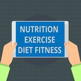 Text sign showing Nutrition Exercise Diet Fitness. Conceptual photo Healthy Lifestyle Weight loss analysisagement.  stock illustration