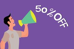 Text sign showing 50 Off. Conceptual photo Discount of fifty percent over regular price Promotion Sale Clearance.  royalty free illustration