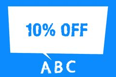 Text sign showing 10 Off. Conceptual photo Discount of ten percent over regular price Promotion Sale Clearance.  royalty free illustration