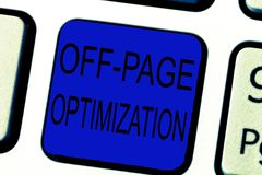 Text sign showing Off Page Optimization. Conceptual photo Website External Process Promotional Method Ranking.  royalty free stock image