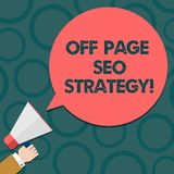 Text sign showing Off Page Seo Strategy. Conceptual photo Search engine optimization strategies website Hu analysis Hand royalty free illustration