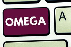 Text sign showing Omega. Conceptual photo Class of essential fatty acids Lower the levels of cholesterol and LDL.  royalty free stock photo