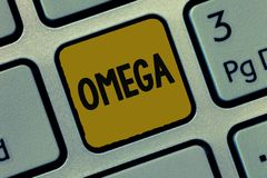 Text sign showing Omega. Conceptual photo Class of essential fatty acids Lower the levels of cholesterol and LDL.  royalty free stock image