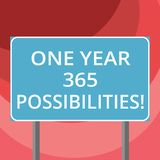 Text sign showing One Year 365 Possibilities. Conceptual photo Fresh new start Opportunities Motivation Blank Rectangular Outdoor. Color Signpost photo with Two stock illustration