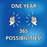Text sign showing One Year 365 Possibilities. Conceptual photo Fresh new start Opportunities Motivation Drawing of Hu. Analysis Hands Clapping Applauding Sound stock illustration