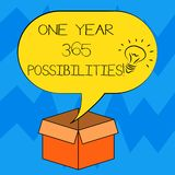 Text sign showing One Year 365 Possibilities. Conceptual photo Fresh new start Opportunities Motivation Idea icon Inside. Blank Halftone Speech Bubble Over an royalty free illustration