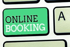 Text sign showing Online Booking. Conceptual photo Reservation through internet Hotel accommodation Plane ticket.  royalty free stock photo