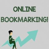 Text sign showing Online Bookmarking. Conceptual photo used to save a URL address for future reference Businessman with. Text sign showing Online Bookmarking stock photography