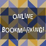 Text sign showing Online Bookmarking. Conceptual photo used to save a URL address for future reference 3D Formation of. Text sign showing Online Bookmarking royalty free illustration