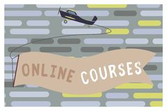 Text sign showing Online Courses. Conceptual photo Revolutionizing formal education Learning through internet.  Royalty Free Illustration