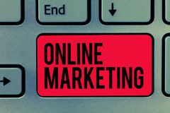 Text sign showing Online Marketing. Conceptual photo form advertising which uses Internet deliver customer needs.  stock photo