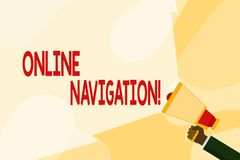 Text sign showing Online Navigation. Conceptual photo navigating a network of information resources in the web Hand. Text sign showing Online Navigation stock illustration