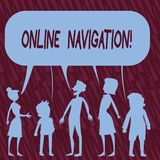 Text sign showing Online Navigation. Conceptual photo navigating a network of information resources in the web. Text sign showing Online Navigation. Business royalty free illustration