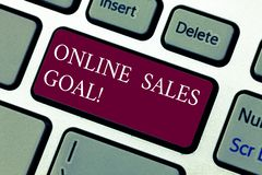 Text sign showing Online Sales Goal. Conceptual photo working backward from your company annual revenue target Keyboard. Key Intention to create computer royalty free stock photography
